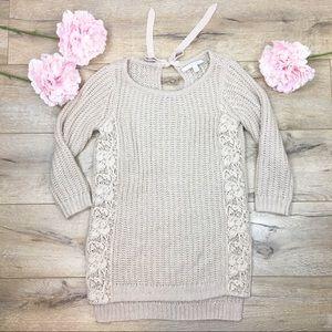 LC Lauren Conrad Cream Laced Sweater S